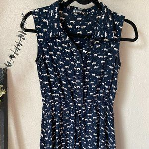 Allegra K Navy Sleeveless Kitten Dress M